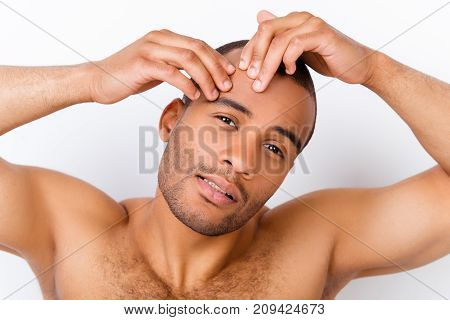 Perfection Is A Hard Work Even For Men. Pampering, Aging, Acne, Pimple, Wrinkles, Clear And Clean, O