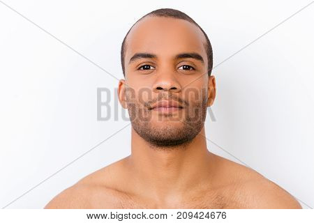 Hygiene, Vitality, Beauty, Men Life Concept. Close Up Portrait Of Afro Young Nude Guy With Stubble I