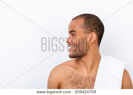 Hygiene, Vitality, Beauty, Men Life Concept. Side Profile View Of Afro Young Nude Guy With White Tow