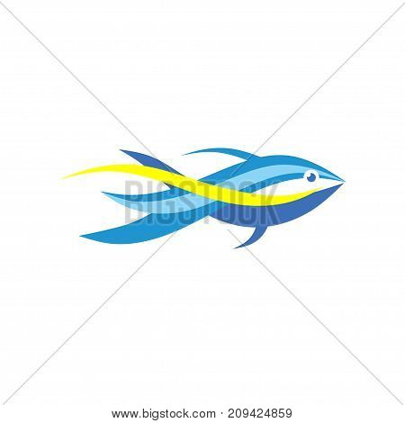 Fish abstract logo template, Sea vector icon, Seafood and fishing concept