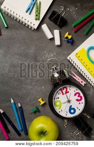 Back to school concept with over chalkboard background