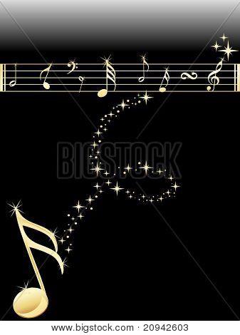 shiny golden music notes background