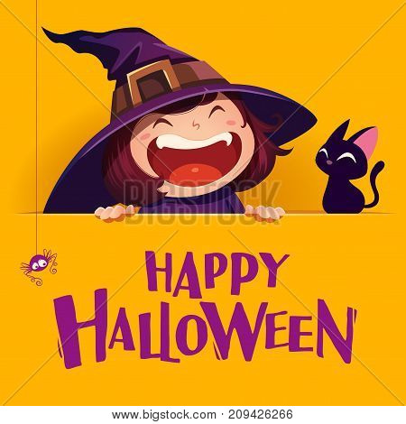 Happy Halloween. Little witch with big signboard. Yellow background.