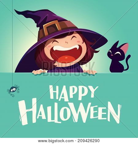 Happy Halloween. Little witch with big signboard. Turquoise background.