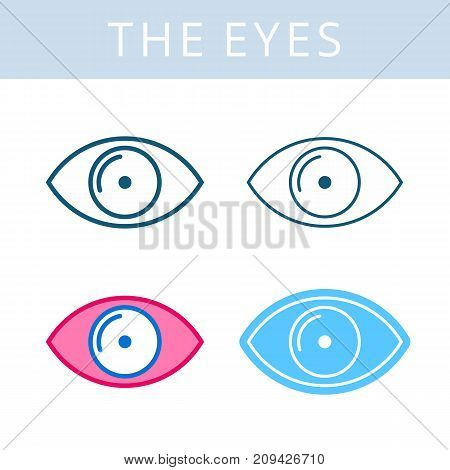 The internals outline icon set. Eye and eyesight symbols. Viscera and inside organs vector linear pictograms. Thin line medical and anatomy infographic elements for web, presentation, networks.