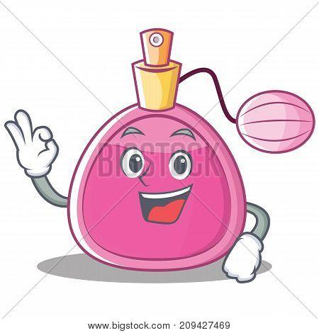 Okay perfume bottle character cartoon vector illustration
