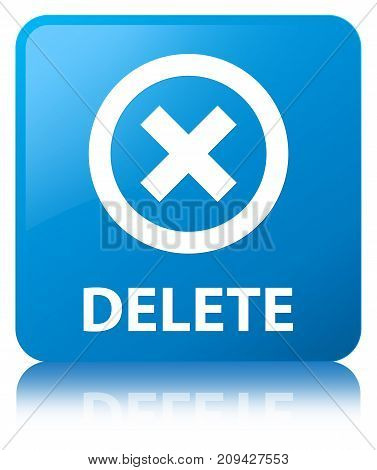 Delete Cyan Blue Square Button