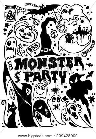 Halloween Silhouettes. Witch, Pumpkin, Black Cat. Halloween Party. Spider Sticker. Trick Or Treat. V
