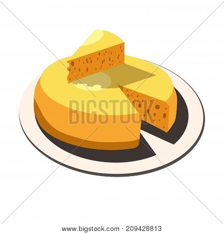 Cheese head and cheese slice lump on plate dish. Vector isolated icon for dairy or creamery farm natural organic food product package design element template