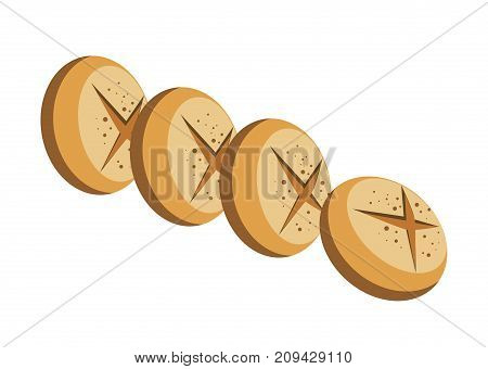 Delicious round bread loaves with crispy crust and cross on top isolated cartoon flat vector illustration in white background. Tasty bakery product that used as nutritious addition to main course.