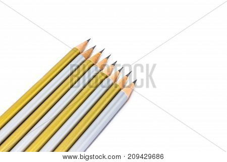 Pencil gold and silver isolated on white background