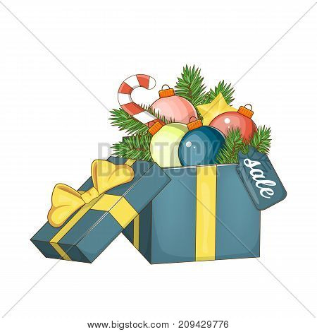 Set of elements for Christmas and New year for sales. Open gift box with bow, Christmas ball and Christmas tree isolated on white. Vector illustration eps 10. The Christmas sale.