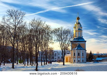 Russian Orthodox Church on the background of a cold winter sunny blue sky. City center Uglich, Russia.