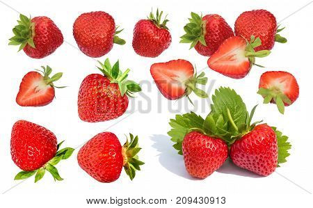 Berry red strawberry isolated set on a white background. Half of the strawberries are in section.