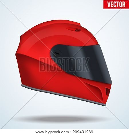 Red motor racing helmet with closed glass visor. Side view. For car and motorcycle sport. Vector Illustration isolated on background.