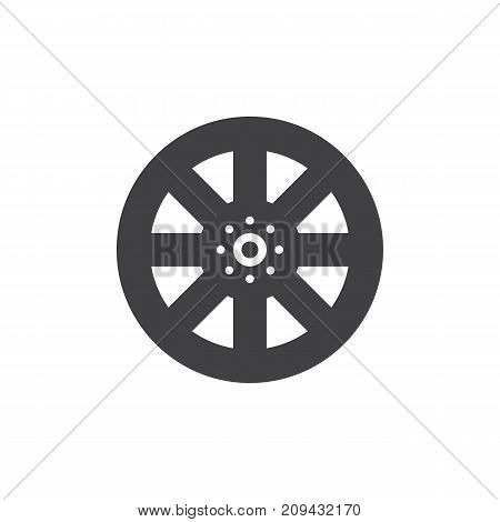 Alloy wheel icon vector, filled flat sign, solid pictogram isolated on white. Symbol, logo illustration.