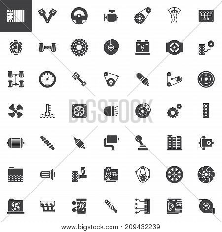 Car parts vector icons set, modern solid symbol collection, filled pictogram pack. Signs, logo illustration. Set includes icons as engine, tire, gear, radiator, suspension, transmission gasoline