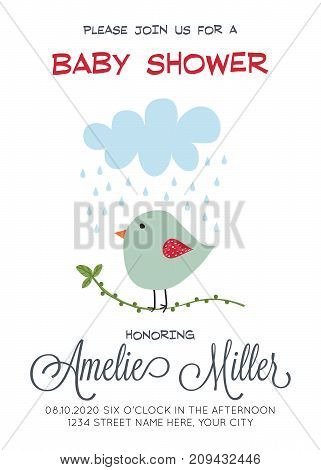 delicate customizable baby shower card template with bird vector format