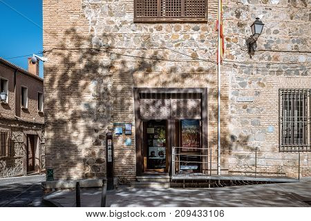 Toledo, Spain - October 13, 2017: Outdoor view of entrance to Synagogue of Transito. It is a historic building famous for its rich stucco decoration