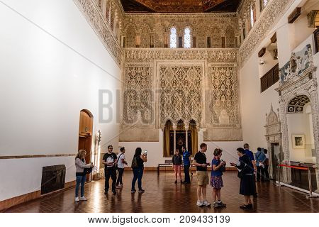 Toledo, Spain - October 13, 2017: Indoor view of Synagogue of Transito. It is a historic building famous for its rich stucco decoration