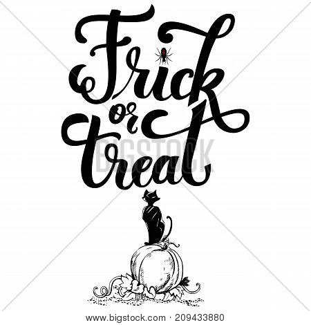 Holiday lettering Halloween party theme with inscription Trick or treat