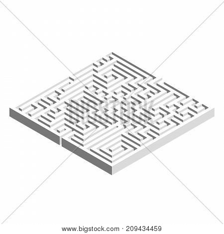 3D square maze labyrinth. Grey vector object on white background.