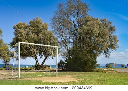 Goal of football on the sand of Maleme beach in Crete