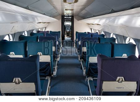 Empty Seat Rows In Commercial Old Aircraft Cabin.