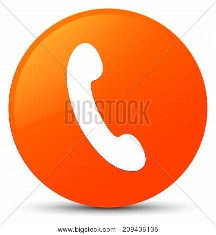 Phone Icon Orange Round Button