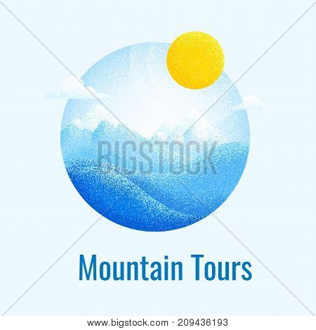 Winter mountain landscape background. Vector poster for skiing resort. Skiing retro banner.