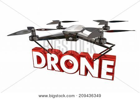 Drone Flying Device Mobile Remote Controlled Flight 3d Illustration