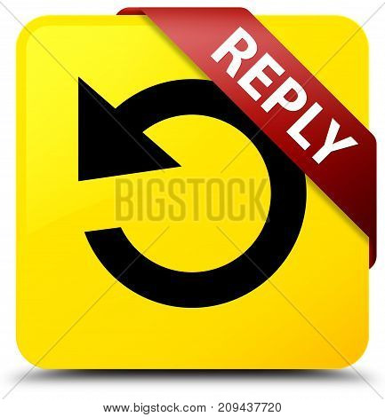 Reply (rotate Arrow Icon) Yellow Square Button Red Ribbon In Corner
