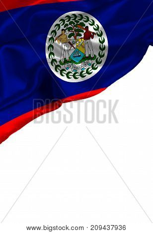 Grunge colorful flag Belize with copyspace for your text or images,isolated on white background. Close up, fluttering downwind.
