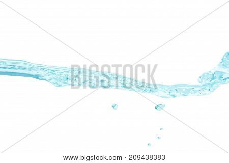 Perfect wave of clear blue water. Over white background. Refresh concept.