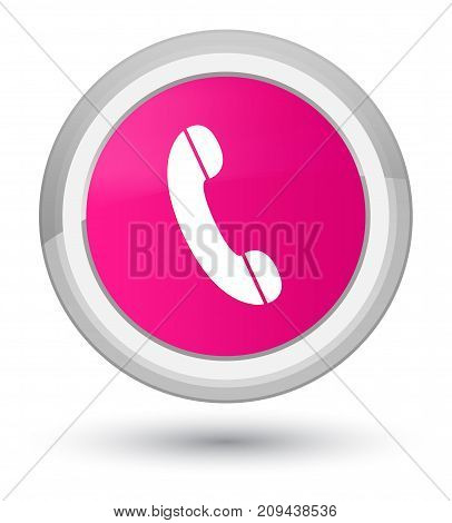 Phone Icon Prime Pink Round Button