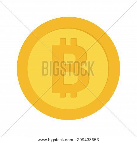 Bitcoin crypto currency blockchain. Gold coin money with bitcoins sign symbol. Cash business icon. Wealth concept. Flat design. Isolated. White background. Vector illustration