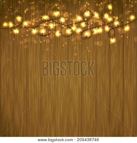 Bright Christmas Light garland over wooden table. Seasonal Holiday decoration. Shimmering glittering sparkle. Vector illustration