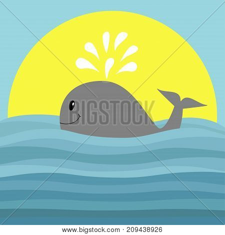 Gray whale with water fountain. Sea ocean wave. Sunset. Cute cartoon character with eyes tail fin. Smiling face. Kids baby animal collection. Flat design Blue background Isolated. Vector illustration