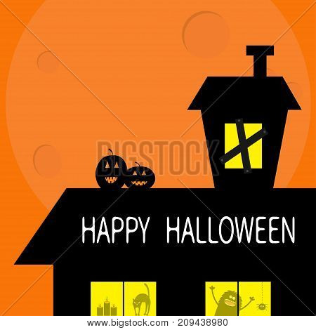 Happy Halloween. Haunted house roof attic loft. Two pumpkins Light on boarded-up windows. Cat arch back. Monster spider Candle. Big moon Funny cartoon character Orange background. Flat design. Vector