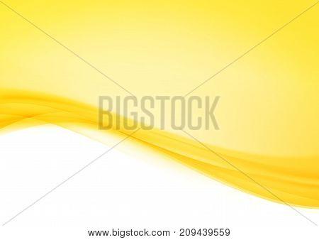 Bright abstract orange futuristic soft lines mild layout. Elegant liquid graphic gradient swoosh wave border divider background over white. Vector illustration