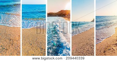 Collage of summer sea beach picture background