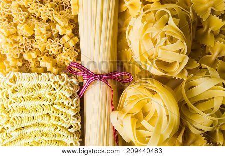 Uncooked Pasta Mix Top View