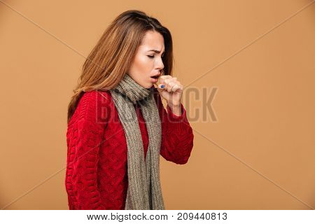 Photo of young coughing brunette woman in warm wear, isolated over beige background