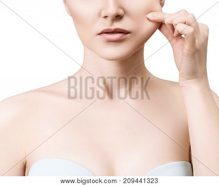 Young woman pulls cheek's skin isolated on white. Elasticity skin concept.