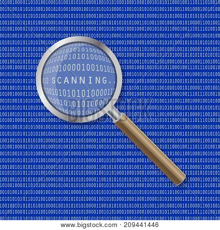 Magnifier which increases the inscription in binary code