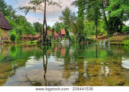 Rastoke is the historic center of the Croatian municipality of Slunj known for the Slunjčica river which flows into the river Korana at Rastoke