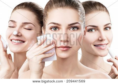 Collage of young woman cleanses skin with foam and napkins isolated on white. Skincare concept. poster