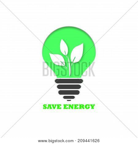 Save energy. Eco background with green light bulb and leavs