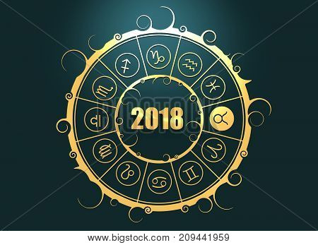 Astrological symbols in the circle. Bull sign. Celebration card template. Zodiac circle with 2018 new year number. 3D rendering