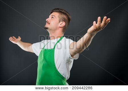 Portrait Supermarket Employer Holding Hands Wide Open